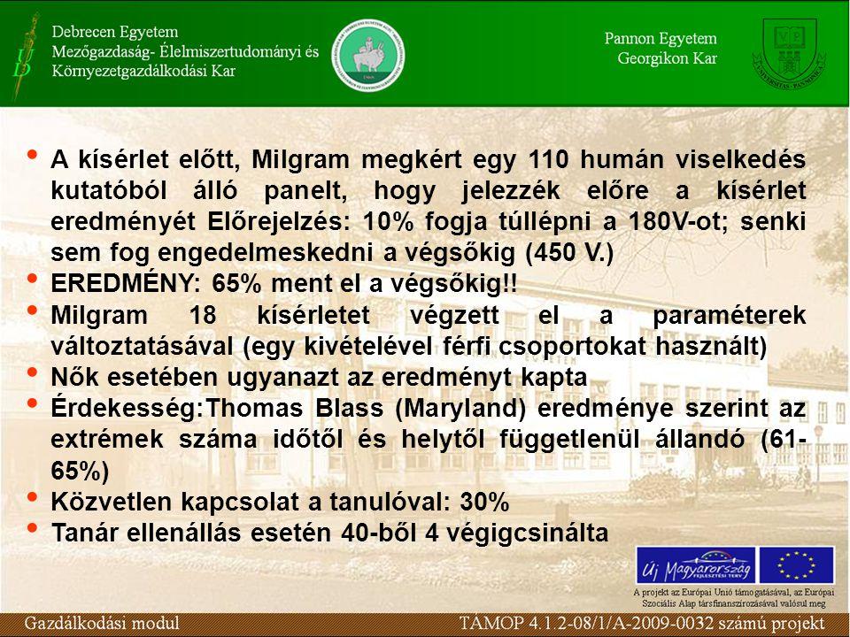 A kísérlet előtt, Milgram megkért egy 110 humán viselkedés kutatóból álló panelt, hogy jelezzék előre a kísérlet eredményét Előrejelzés: 10% fogja túllépni a 180V-ot; senki sem fog engedelmeskedni a végsőkig (450 V.) EREDMÉNY: 65% ment el a végsőkig!.