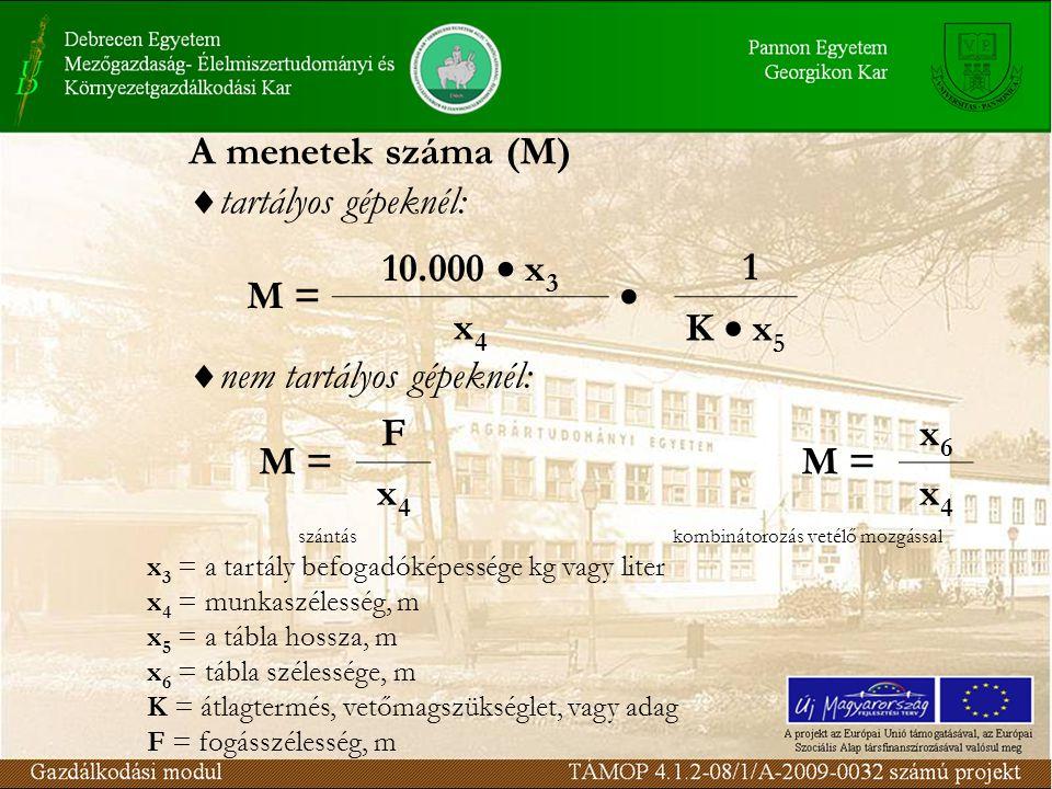A menetek száma (M)  tartályos gépeknél: M = 10.000  x 3  1 x4x4 K  x 5  nem tartályos gépeknél: M = F x6x6 x4x4 x4x4 szántáskombinátorozás vetélő mozgással x 3 = a tartály befogadóképessége kg vagy liter x 4 = munkaszélesség, m x 5 = a tábla hossza, m x 6 = tábla szélessége, m K = átlagtermés, vetőmagszükséglet, vagy adag F = fogásszélesség, m