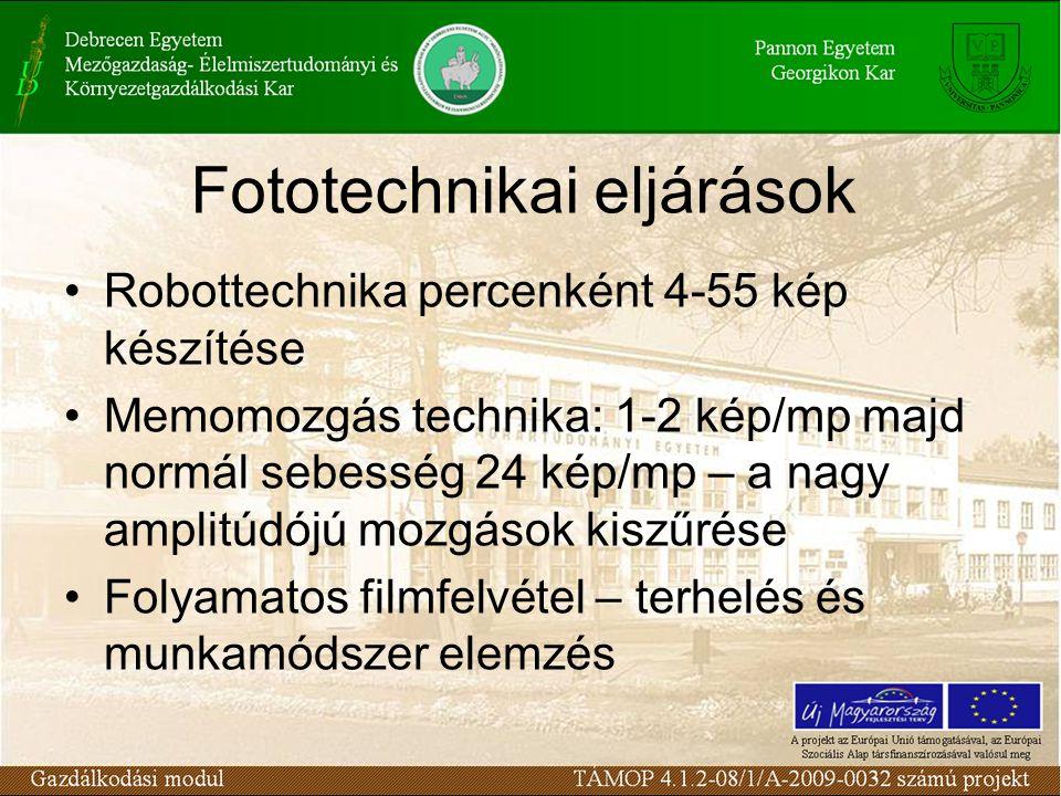 Fototechnikai eljárások Robottechnika percenként 4-55 kép készítése Memomozgás technika: 1-2 kép/mp majd normál sebesség 24 kép/mp – a nagy amplitúdójú mozgások kiszűrése Folyamatos filmfelvétel – terhelés és munkamódszer elemzés