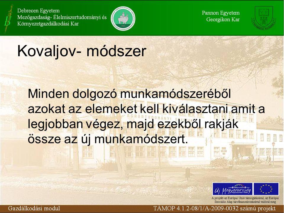 Kovaljov- módszer Minden dolgozó munkamódszeréből azokat az elemeket kell kiválasztani amit a legjobban végez, majd ezekből rakják össze az új munkamódszert.