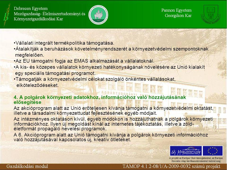 Vállalati integrált termékpolitika támogatása. Átalakítják a beruházások követelményrendszerét a környezetvédelmi szempontoknak megfelelően. Az EU tám