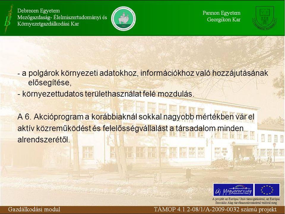 - a polgárok környezeti adatokhoz, információkhoz való hozzájutásának elősegítése, - környezettudatos területhasználat felé mozdulás. A 6. Akcióprogra