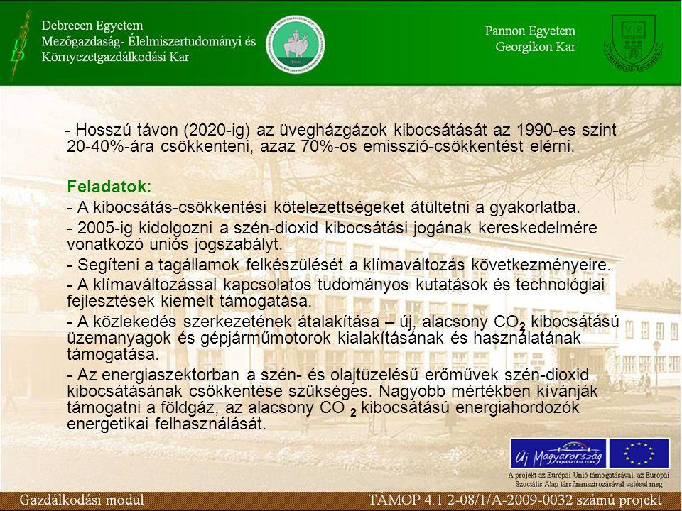 - Hosszú távon (2020-ig) az üvegházgázok kibocsátását az 1990-es szint 20-40%-ára csökkenteni, azaz 70%-os emisszió-csökkentést elérni. Feladatok: - A