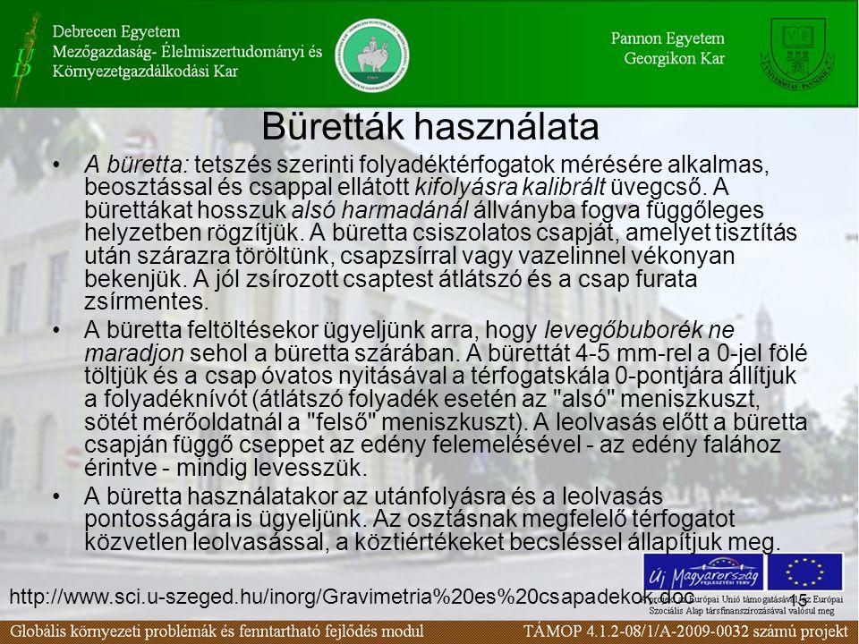 15 Büretták használata A büretta: tetszés szerinti folyadéktérfogatok mérésére alkalmas, beosztással és csappal ellátott kifolyásra kalibrált üvegcső.