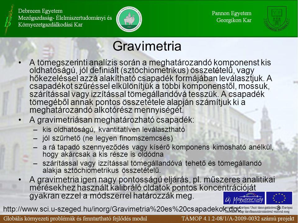 8 Gravimetria A tömegszerinti analízis során a meghatározandó komponenst kis oldhatóságú, jól definiált (sztöchiometrikus) összetételű, vagy hőkezelés