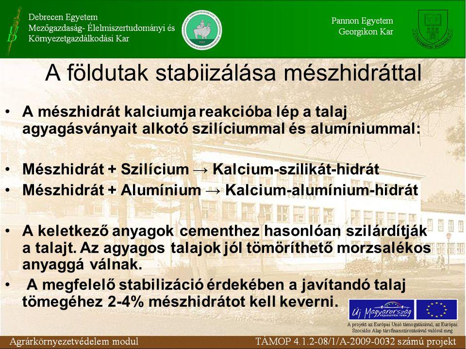 A földutak stabiizálása mészhidráttal A mészhidrát kalciumja reakcióba lép a talaj agyagásványait alkotó szilíciummal és alumíniummal: Mészhidrát + Sz