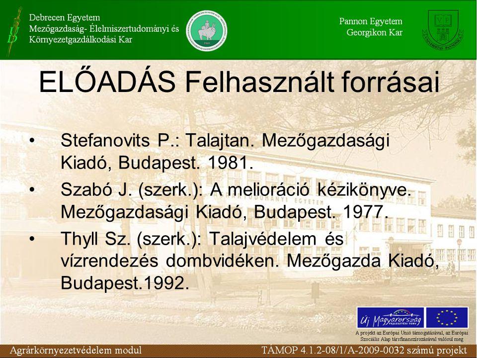 ELŐADÁS Felhasznált forrásai Stefanovits P.: Talajtan. Mezőgazdasági Kiadó, Budapest. 1981. Szabó J. (szerk.): A melioráció kézikönyve. Mezőgazdasági