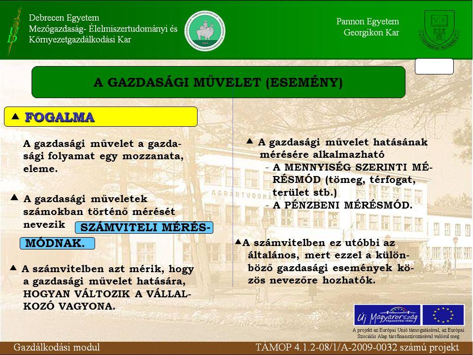 A GAZDASÁGI MŰVELET (ESEMÉNY) A gazdasági művelet a gazda- sági folyamat egy mozzanata, eleme.
