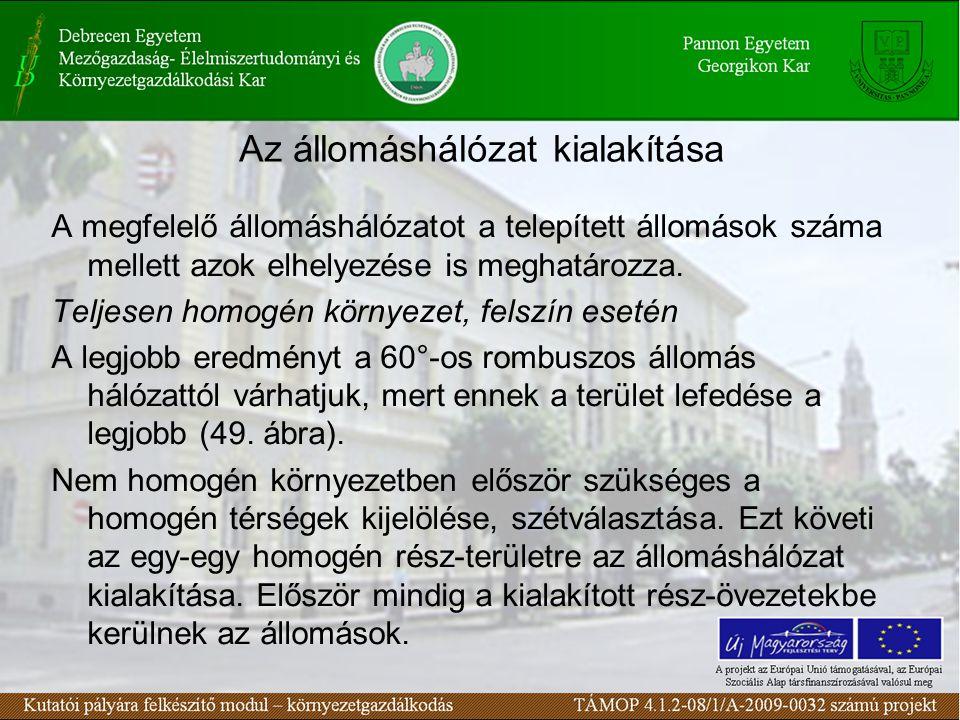 Az állomáshálózat kialakítása A megfelelő állomáshálózatot a telepített állomások száma mellett azok elhelyezése is meghatározza.