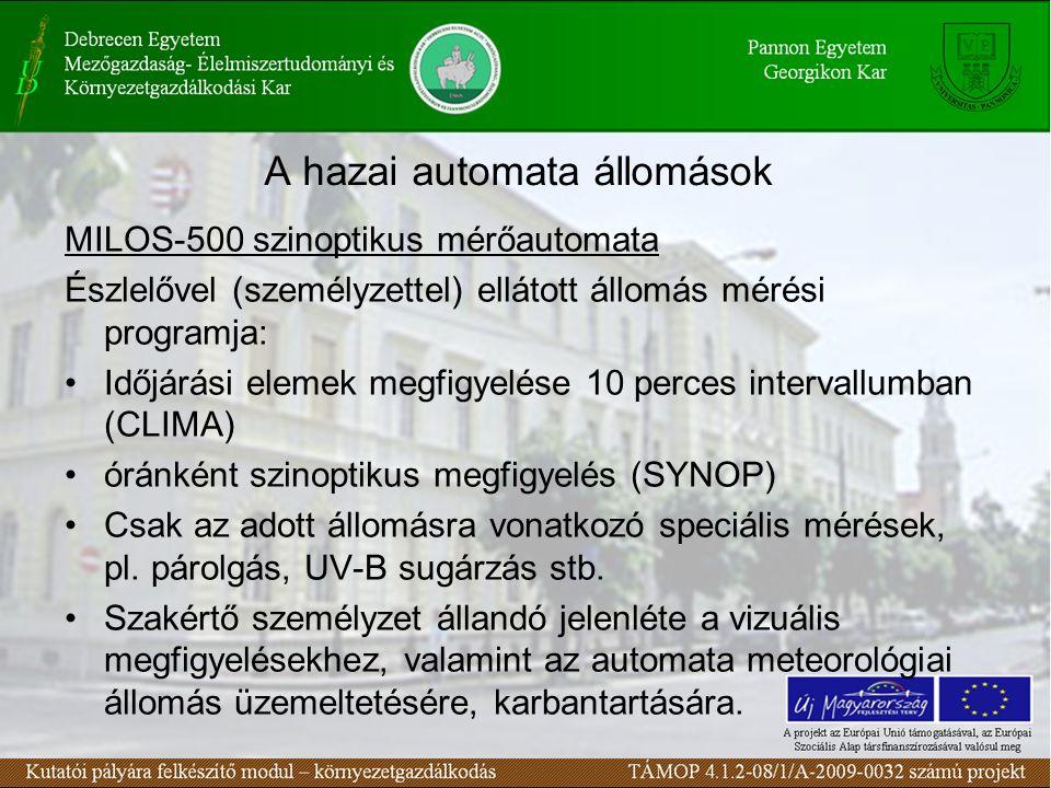 A hazai automata állomások MILOS-500 szinoptikus mérőautomata Észlelővel (személyzettel) ellátott állomás mérési programja: Időjárási elemek megfigyelése 10 perces intervallumban (CLIMA) óránként szinoptikus megfigyelés (SYNOP) Csak az adott állomásra vonatkozó speciális mérések, pl.