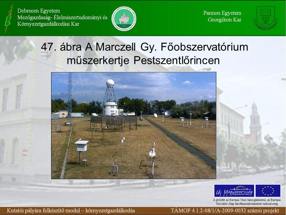 47. ábra A Marczell Gy. Főobszervatórium műszerkertje Pestszentlőrincen