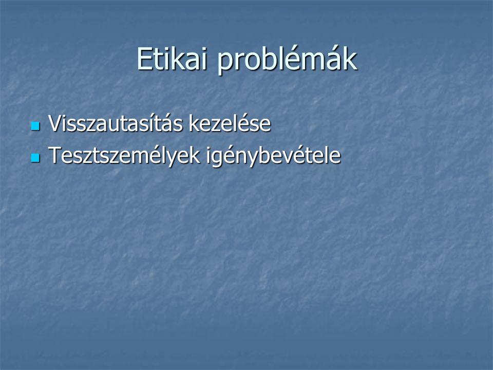 Etikai problémák Visszautasítás kezelése Visszautasítás kezelése Tesztszemélyek igénybevétele Tesztszemélyek igénybevétele
