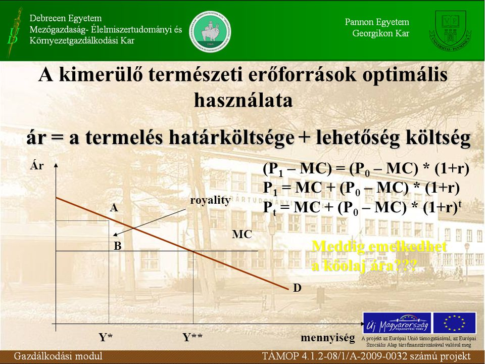 D MC A B Y*Y**mennyiség Ár royality ár = a termelés határköltsége + lehetőség költség (P 1 – MC) = (P 0 – MC) * (1+r) P 1 = MC + (P 0 – MC) * (1+r) P t = MC + (P 0 – MC) * (1+r) t Meddig emelkedhet a kőolaj ára
