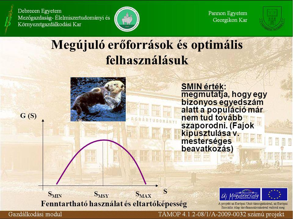 Megújuló erőforrások és optimális felhasználásuk G (S) S S MSY S MAX S MIN SMIN érték: megmutatja, hogy egy bizonyos egyedszám alatt a populáció már nem tud tovább szaporodni.