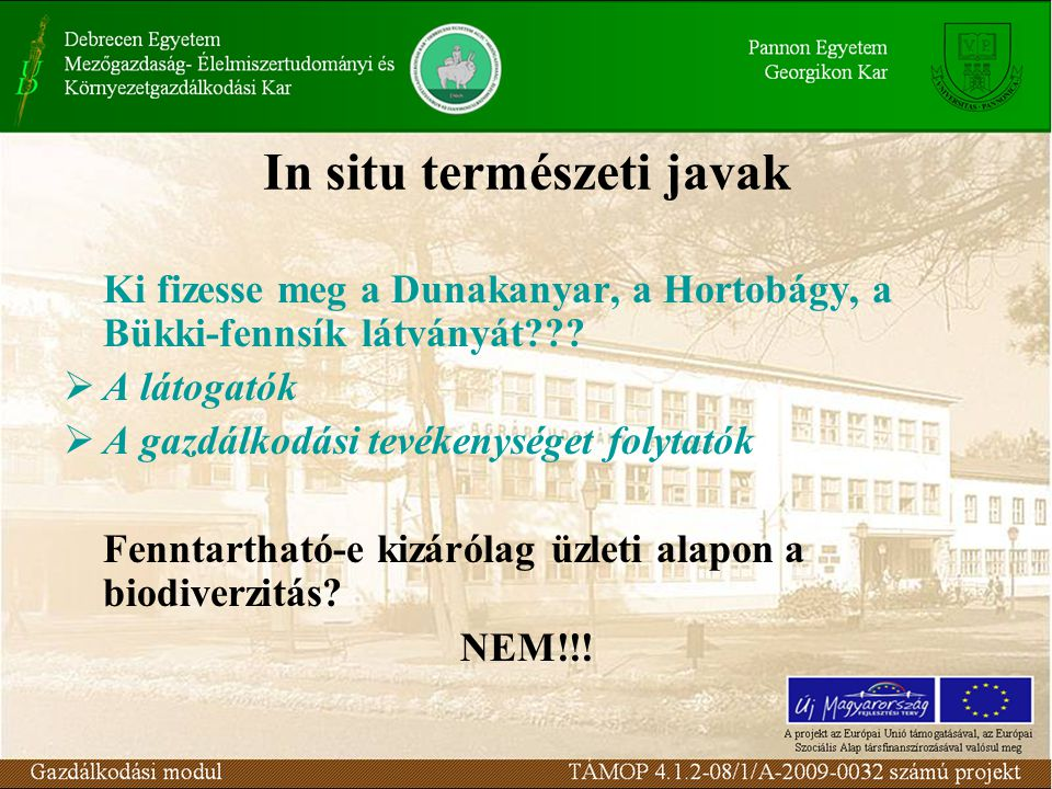 In situ természeti javak Ki fizesse meg a Dunakanyar, a Hortobágy, a Bükki-fennsík látványát .