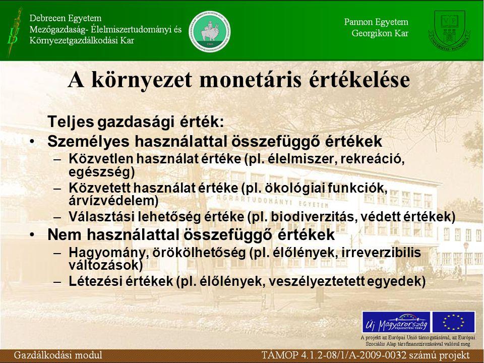 A környezet monetáris értékelése Teljes gazdasági érték: Személyes használattal összefüggő értékek –Közvetlen használat értéke (pl.