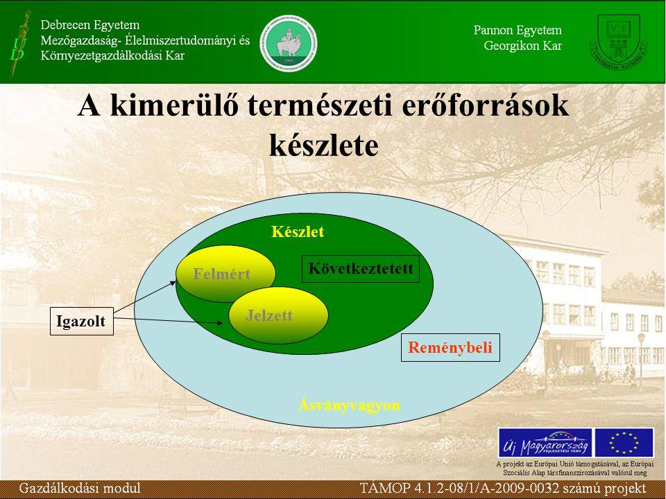 A kimerülő természeti erőforrások készlete In situ érték (i): a földkéregben felkutatott ásványvagyon számított potenciális gazdasági értéke.