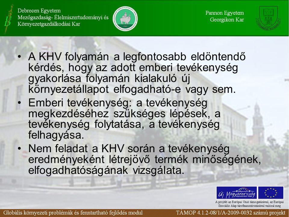 A KHV folyamán a legfontosabb eldöntendő kérdés, hogy az adott emberi tevékenység gyakorlása folyamán kialakuló új környezetállapot elfogadható-e vagy sem.