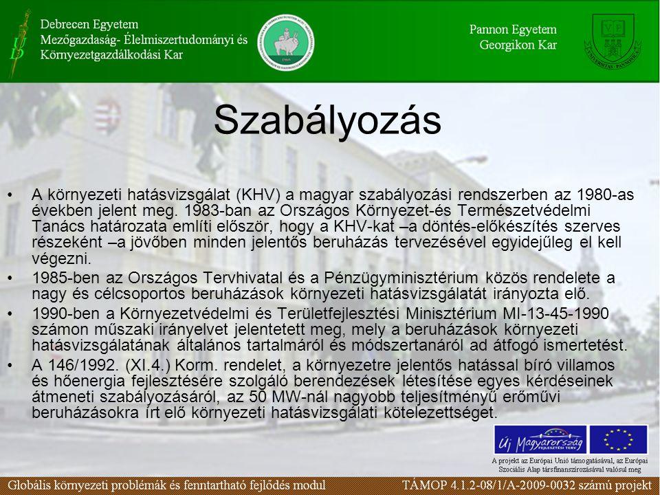 Szabályozás A környezeti hatásvizsgálat (KHV) a magyar szabályozási rendszerben az 1980-as években jelent meg.