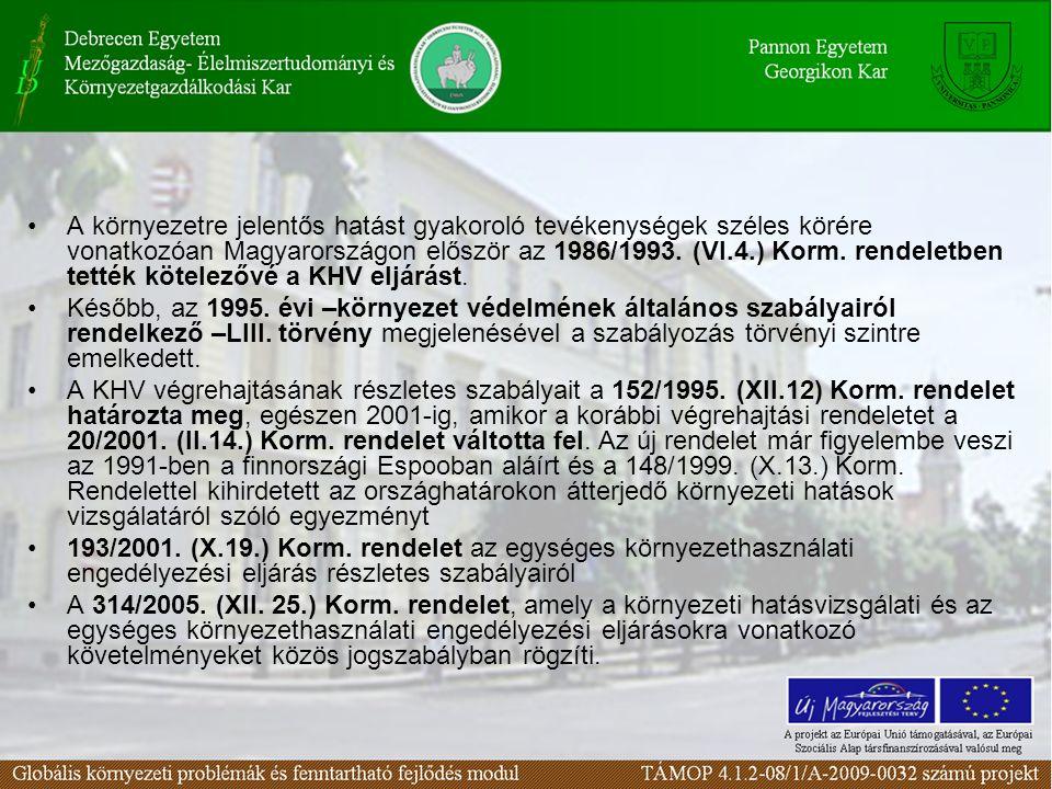 A környezetre jelentős hatást gyakoroló tevékenységek széles körére vonatkozóan Magyarországon először az 1986/1993.