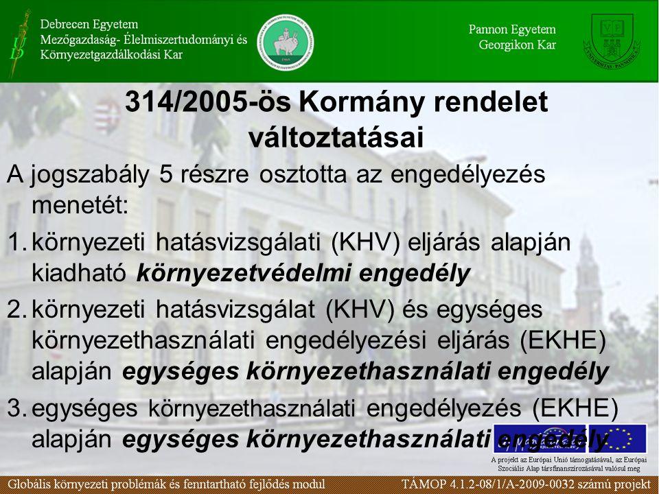 314/2005-ös Kormány rendelet változtatásai A jogszabály 5 részre osztotta az engedélyezés menetét: 1.környezeti hatásvizsgálati (KHV) eljárás alapján kiadható környezetvédelmi engedély 2.környezeti hatásvizsgálat (KHV) és egységes környezethasználati engedélyezési eljárás (EKHE) alapján egységes környezethasználati engedély 3.egységes környezethasználati engedélyezés (EKHE) alapján egységes környezethasználati engedély