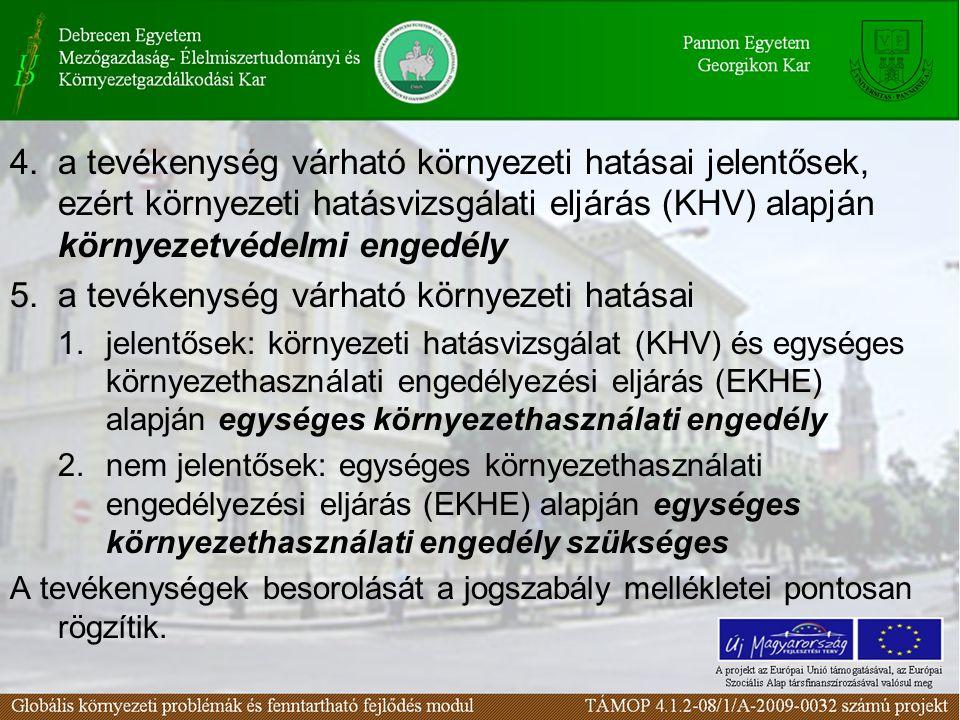 4.a tevékenység várható környezeti hatásai jelentősek, ezért környezeti hatásvizsgálati eljárás (KHV) alapján környezetvédelmi engedély 5.a tevékenység várható környezeti hatásai 1.jelentősek: környezeti hatásvizsgálat (KHV) és egységes környezethasználati engedélyezési eljárás (EKHE) alapján egységes környezethasználati engedély 2.nem jelentősek: egységes környezethasználati engedélyezési eljárás (EKHE) alapján egységes környezethasználati engedély szükséges A tevékenységek besorolását a jogszabály mellékletei pontosan rögzítik.