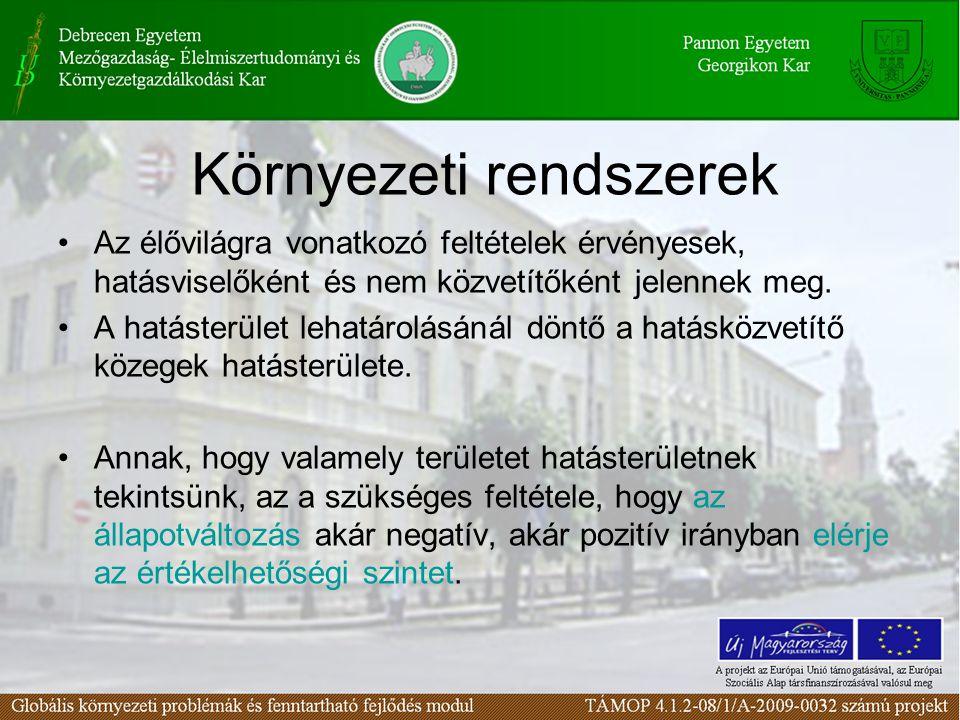 Környezeti rendszerek Az élővilágra vonatkozó feltételek érvényesek, hatásviselőként és nem közvetítőként jelennek meg.