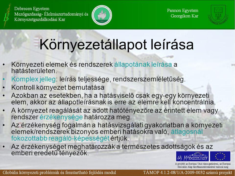 Környezetállapot leírása Környezeti elemek és rendszerek állapotának leírása a hatásterületen.