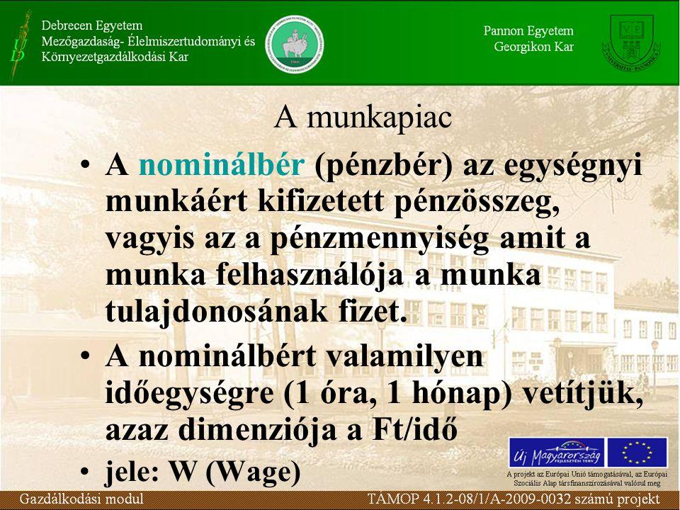 A munkapiac A nominálbér (pénzbér) az egységnyi munkáért kifizetett pénzösszeg, vagyis az a pénzmennyiség amit a munka felhasználója a munka tulajdonosának fizet.