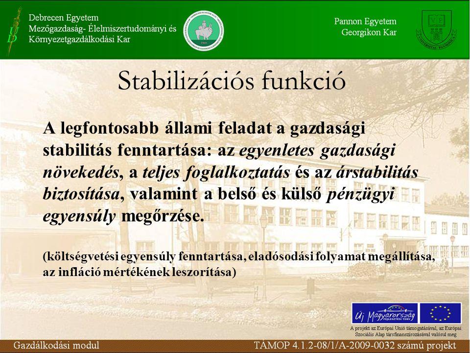 Stabilizációs funkció A legfontosabb állami feladat a gazdasági stabilitás fenntartása: az egyenletes gazdasági növekedés, a teljes foglalkoztatás és az árstabilitás biztosítása, valamint a belső és külső pénzügyi egyensúly megőrzése.