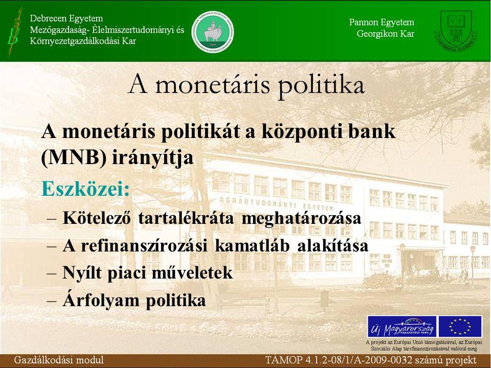A monetáris politika A monetáris politikát a központi bank (MNB) irányítja Eszközei: –Kötelező tartalékráta meghatározása –A refinanszírozási kamatláb alakítása –Nyílt piaci műveletek –Árfolyam politika