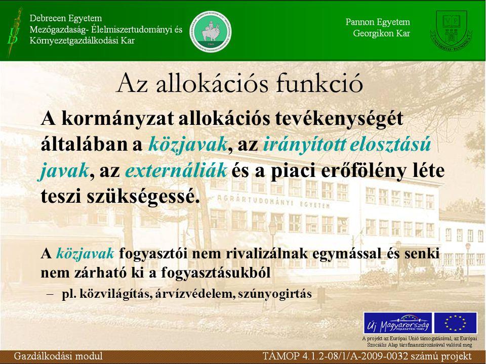 Az allokációs funkció A kormányzat allokációs tevékenységét általában a közjavak, az irányított elosztású javak, az externáliák és a piaci erőfölény léte teszi szükségessé.