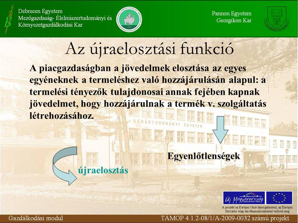 Az újraelosztási funkció A újraelosztás eszközei: –Adóztatás –Transzferek nyújtása