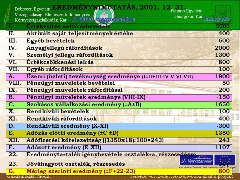 EREDMÉNYKIMUTATÁS, 2001. 12. 31. A tétel megnevezése Összeg eFt I.Értékesítés nettó árbevétele 5000 II.Aktivált saját teljesítmények értéke400 III.Egy