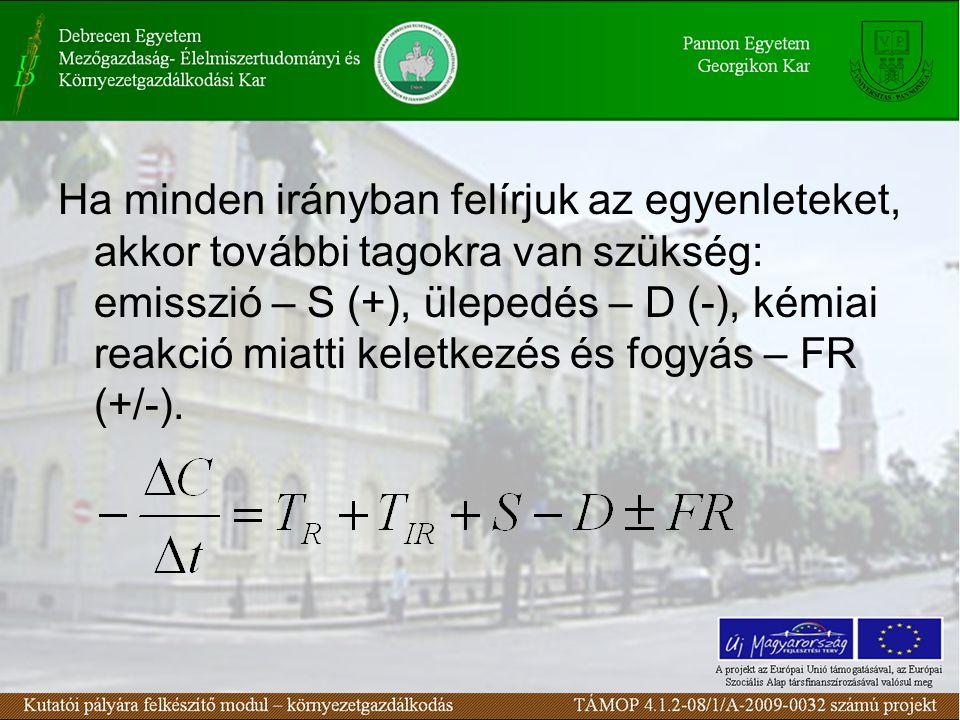 Ha minden irányban felírjuk az egyenleteket, akkor további tagokra van szükség: emisszió – S (+), ülepedés – D (-), kémiai reakció miatti keletkezés és fogyás – FR (+/-).