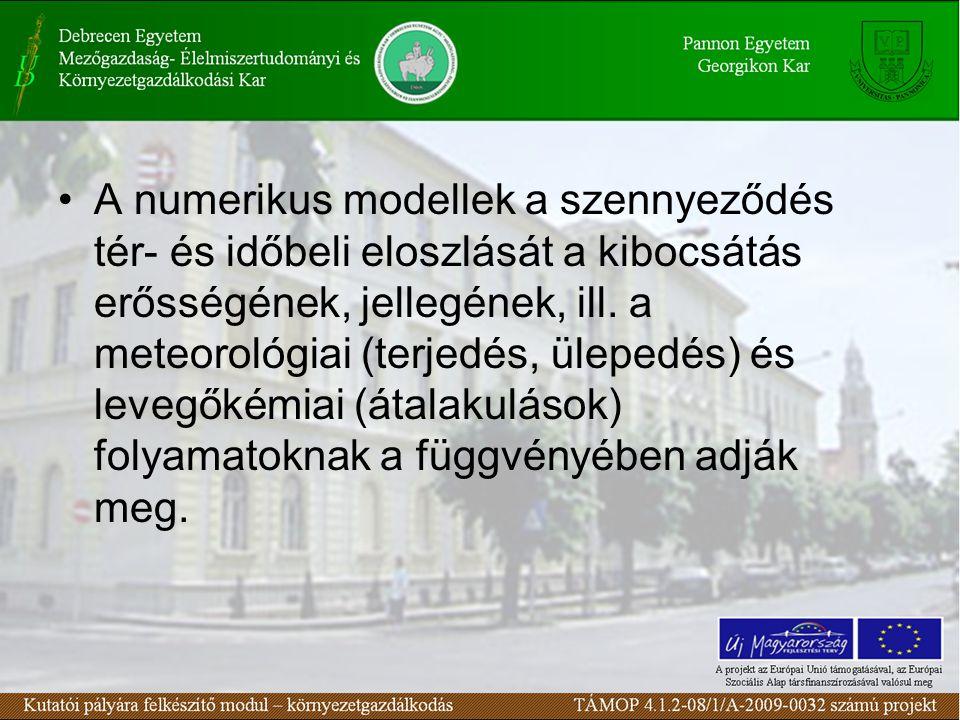 A numerikus modellek a szennyeződés tér- és időbeli eloszlását a kibocsátás erősségének, jellegének, ill.