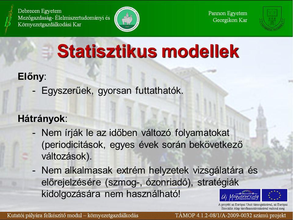 Statisztikus modellek Előny: -Egyszerűek, gyorsan futtathatók.