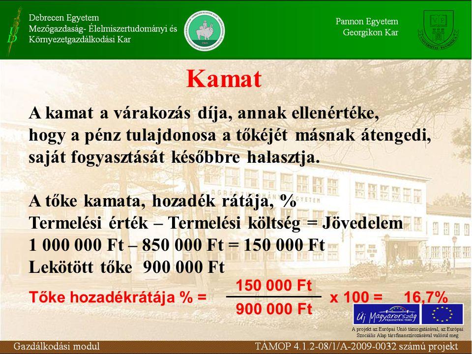 Kamat A kamat a várakozás díja, annak ellenértéke, hogy a pénz tulajdonosa a tőkéjét másnak átengedi, saját fogyasztását későbbre halasztja. A tőke ka