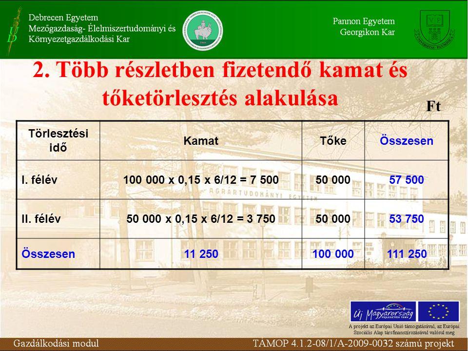 2. Több részletben fizetendő kamat és tőketörlesztés alakulása Törlesztési idő KamatTőkeÖsszesen I. félév100 000 x 0,15 x 6/12 = 7 50050 00057 500 II.