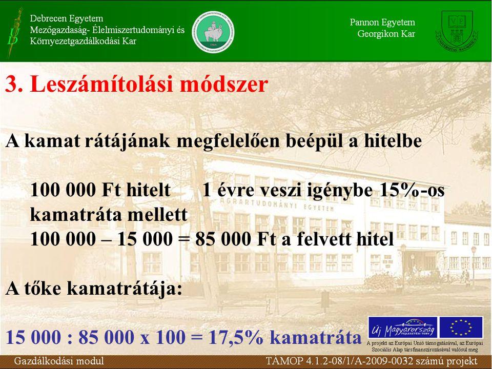 3.Leszámítolási módszer A kamat rátájának megfelelően beépül a hitelbe 100 000 Ft hitelt 1 évre veszi igénybe 15%-os kamatráta mellett 100 000 – 15 00