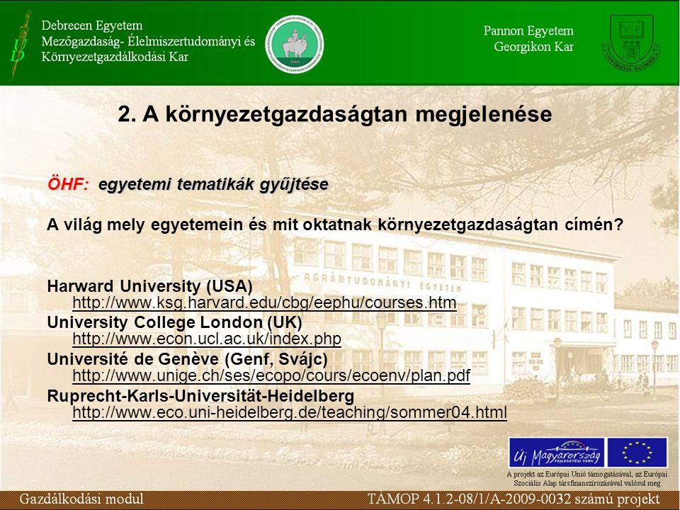 2. A környezetgazdaságtan megjelenése ÖHF: egyetemi tematikák gyűjtése A világ mely egyetemein és mit oktatnak környezetgazdaságtan címén? Harward Uni