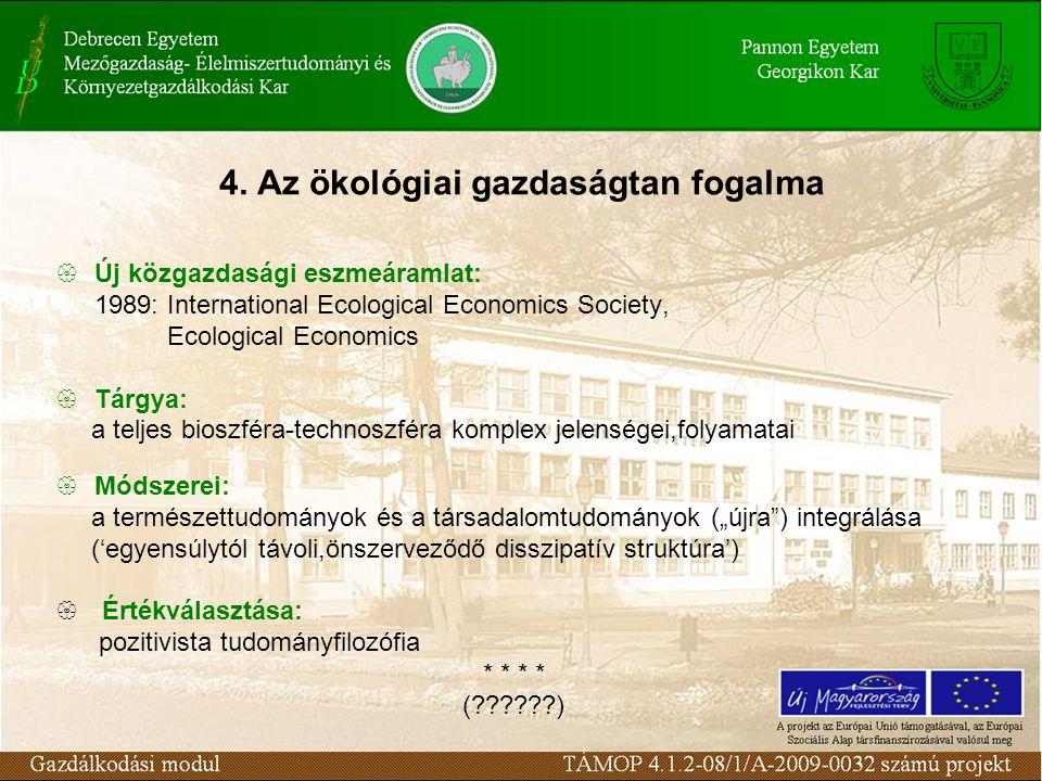 4. Az ökológiai gazdaságtan fogalma  Új közgazdasági eszmeáramlat: 1989: International Ecological Economics Society, Ecological Economics  Tárgya: a