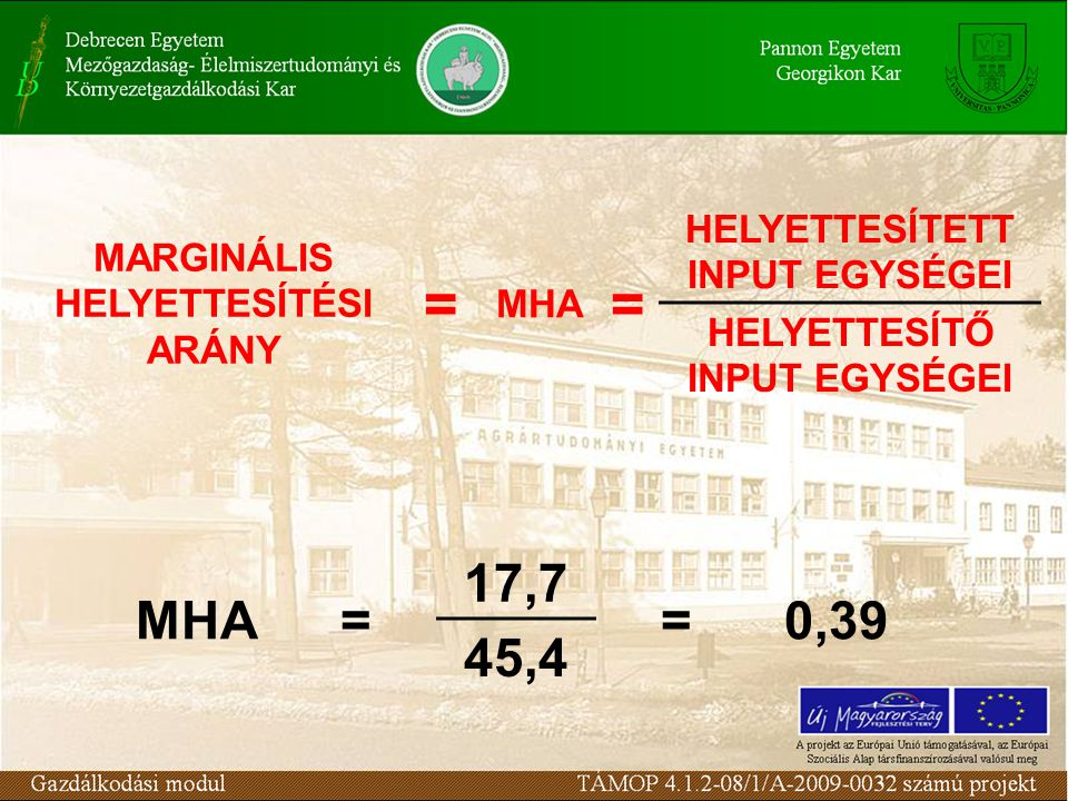 MARGINÁLIS HELYETTESÍTÉSI ARÁNY = MHA = HELYETTESÍTETT INPUT EGYSÉGEI HELYETTESÍTŐ INPUT EGYSÉGEI MHA= 17,7 =0,39 45,4