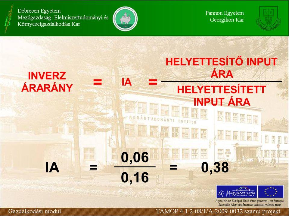 INVERZ ÁRARÁNY = IA = HELYETTESÍTŐ INPUT ÁRA HELYETTESÍTETT INPUT ÁRA IA= 0,06 =0,38 0,16
