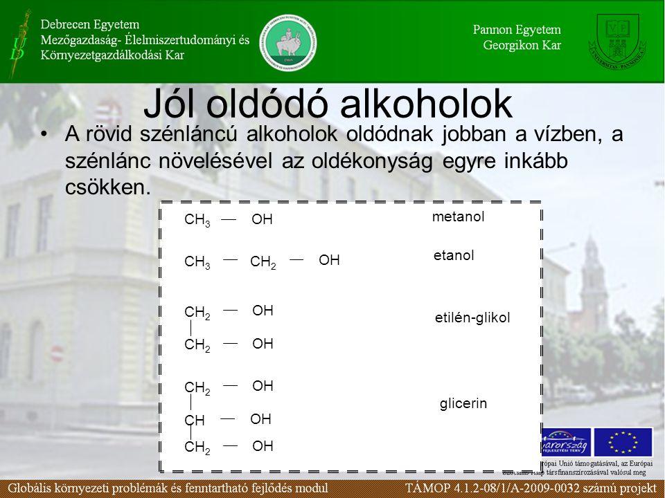 Jól oldódó alkoholok A rövid szénláncú alkoholok oldódnak jobban a vízben, a szénlánc növelésével az oldékonyság egyre inkább csökken. CH 3 OH CH 3 CH