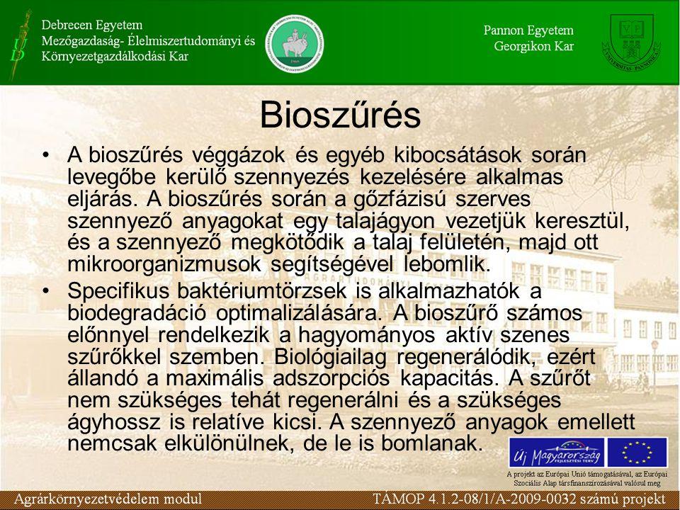 A bioszűrés véggázok és egyéb kibocsátások során levegőbe kerülő szennyezés kezelésére alkalmas eljárás.