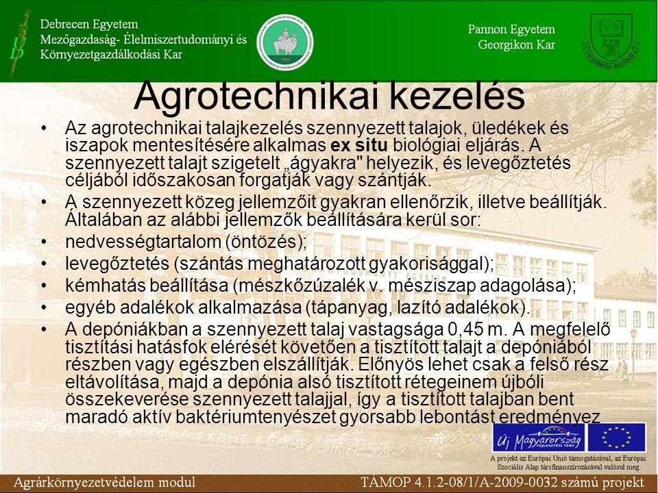 Az agrotechnikai talajkezelés szennyezett talajok, üledékek és iszapok mentesítésére alkalmas ex situ biológiai eljárás.