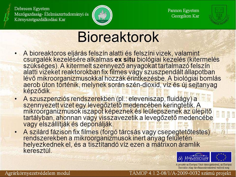 A bioreaktoros eljárás felszín alatti és felszíni vizek, valamint csurgalék kezelésére alkalmas ex situ biológiai kezelés (kitermelés szükséges).