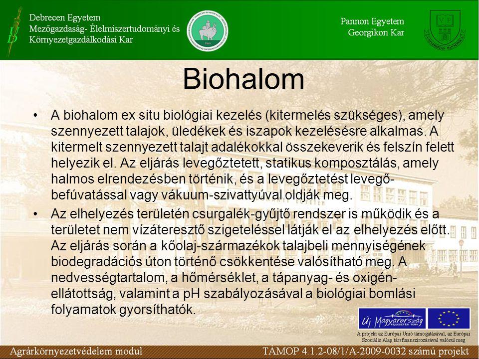 A biohalom ex situ biológiai kezelés (kitermelés szükséges), amely szennyezett talajok, üledékek és iszapok kezelésésre alkalmas.