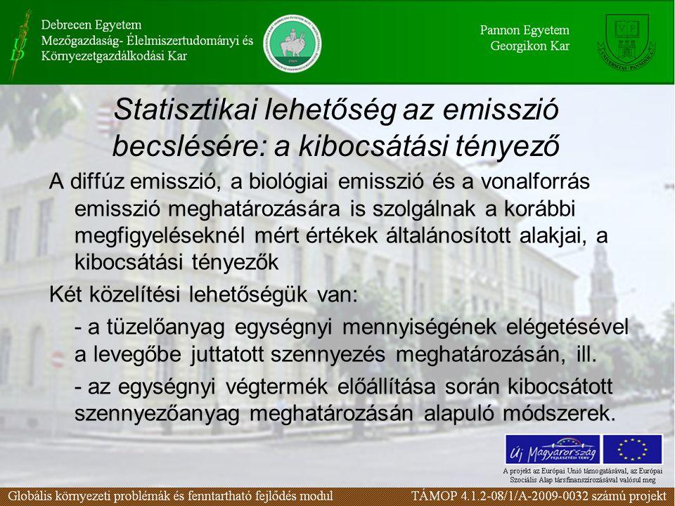 Statisztikai lehetőség az emisszió becslésére: a kibocsátási tényező A diffúz emisszió, a biológiai emisszió és a vonalforrás emisszió meghatározására is szolgálnak a korábbi megfigyeléseknél mért értékek általánosított alakjai, a kibocsátási tényezők Két közelítési lehetőségük van: - a tüzelőanyag egységnyi mennyiségének elégetésével a levegőbe juttatott szennyezés meghatározásán, ill.